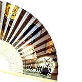 VEMOW Heißer Halloween Party Kürbis schädel Spinne Hexe Handgeschnitzten Bambus Folding Fan Stil Holz(G, 23cm*40cm)