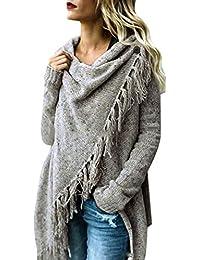 Petalum Damen Jacke Winter Herbst Warm Elegant Langarm Fransen Quasten Lässig Asymmetrisch Stricken Stola Schal Outdoor Knit Cape Trachtentuch Wraps