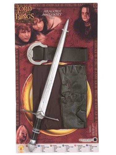 Original Lizenz Herr der Ringe Aragorn Zubehör Set Schwert Kinderkostüm Kostüm für Kinder Aragornkostüm Gr. (Aragorn Ringe Der Kostüme Herr)