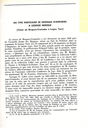 Un type particulier de monnaie d'Ampurias a' legende iberique. par SOUTOU André -