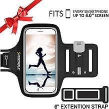 PORTHOLIC® Brazalete deportivo Para Deportes Fitness Con soporte para llaves, cables y tarjetas para iPhone 5S/5/SE/5C,Galaxy S4/S3, Huawei, Bq, HTC, LG hasta 4.0 pulgadas (negro+)