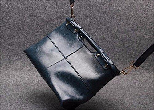 Dame Dame Handtasche Tasche Leder Rindsleder Tasche, 25 * 11 * 21 cm Dunkelblau