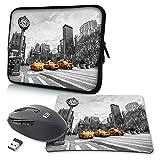 PEDEA Design Schutzhülle Notebook Tasche bis 17,3 Zoll (43,9cm) mit Mauspad und schnurloser Maus, Taxi