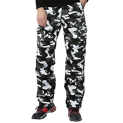 AYG Velour Hose Warm Herren Cargo Pants Freizeit Hose Baumwolle Sport 29-40 Gray Camo Nr.1005