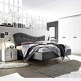 M-012 Schlafzimmer, komplett, für Erwachsene, Weiß und Grau, L 180 x P 200 cm
