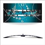 Artland 3D analoge Wand-Funk- oder Quarz-Uhr Digital-Druck auf Alu weiß mit Motiv Jule Silber abstrakt auf petrol Abstrakte Motive Gegenstandslos Digitale Kunst Blau A7PH