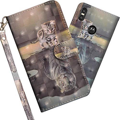 COTDINFOR Motorola Moto One Hülle 3D-Effekt Painted cool Schutzhülle PU Leder Flip Bookcase Handy Tasche Schale mit Magnet Standfunktion Etui für Motorola Moto One / P30 Play Cat Tiger YX.