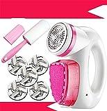 XJZJIA Neben dem Ball, der Kleidung, dem Trimmer, der Haushalts-Haarentfernung, dem Ball, dem Haarentfernungsgerät, dem Multifunktions-Haarentfernungsgerät, dem rosa + 5 Messerkopf + dem klebrigen Pinsel