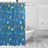 COOSUN Raum-Muster-Druck-Duschvorhang, Polyester-Gewebe Duschvorhang, 66 x 72-inch 66x72 Mehrfarbig
