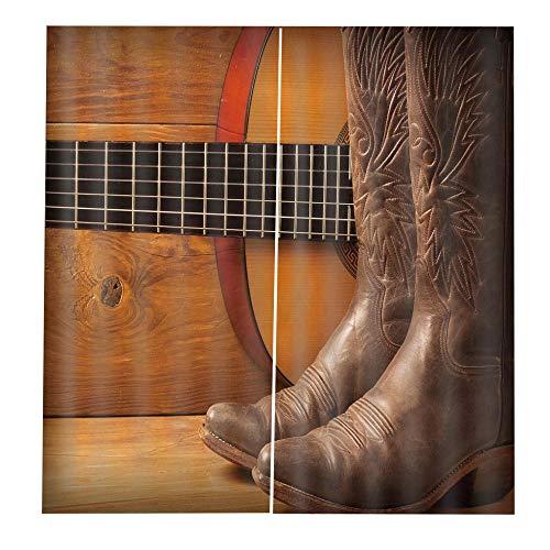 RYQRP 3D Vorhänge Stiefel, Gitarre Vorhang Blickdicht Polyester mit Haken für Schlafzimmer Kinderzimmer Wohnzimmer Dekoration, 150 * 166cm (Schiene Stiefel Pferd)