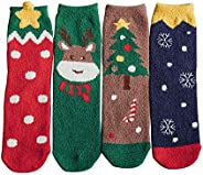 Christmas socks gift box cartoon cotton lady 4 pairs middle barrel socks
