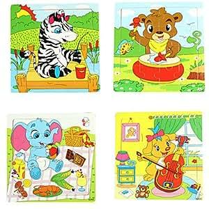 16Pcs/Lot Wooden Jigsaw Puzzle Educational Toys (Random Color)