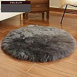 Schaffell Teppich Runde Reine Wolle Yoga-Matte Geeignet Für Stühle Boden (5-8cm Haarlänge),Grey3-diameter150cm(59'')