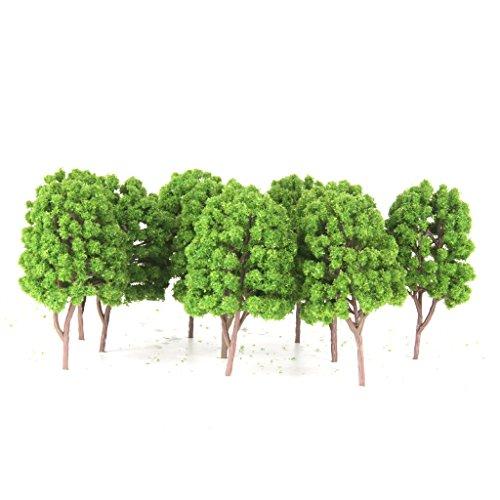 Generic 10pcs Street Train Model Trees Scenery 1/100 Scale Light Green