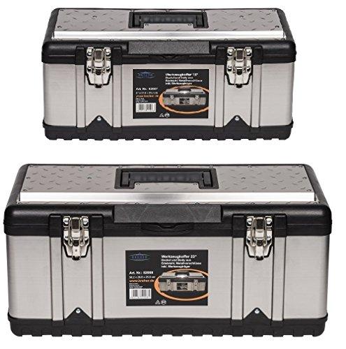 Werkzeugkoffer Set PROFI aus zwei Edelstahlkoffern mit robustem Kunststoff-Rahmen, Stoßschutz an den Kanten, herausnehmbaren Werkzeugträger und Ablängvorrichtung, mit abschließbaren Metallverschlüssen