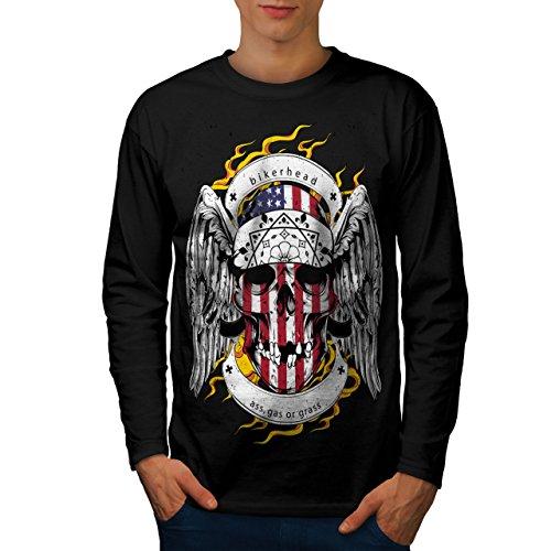 Schädel Motorradfahrer Kopf Gesicht USA Herren M Langarm-T-Shirt | Wellcoda (Basketball-gesicht Schild)
