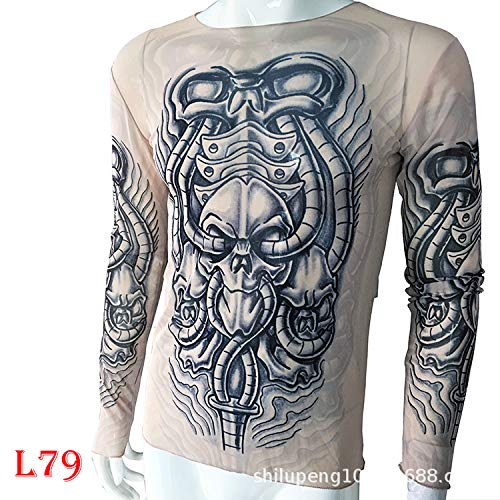 Kostüm Dragon Family - tzxdbh Tattoo Tattoo Langarm T-Shirt Damen Fan Digitaldruck Boden Shirt Musik Festival Kostüm L79 79 机械 170CM-182CM 60KG-110KG