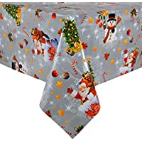 Silver Xmas Wipe Clean PVC Vinyl Tablecloth Table Cover Protector 140x240 Centimeter