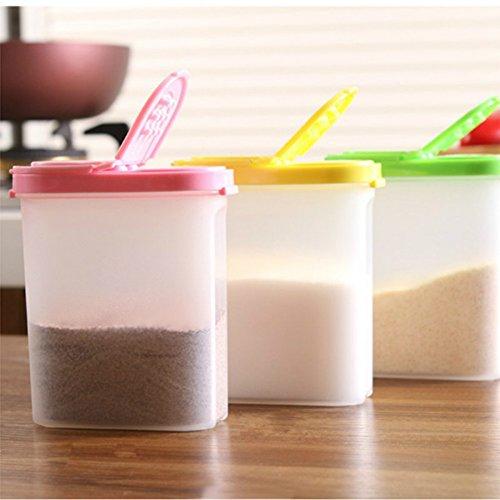 Küche Kunststoff Gewürz Dosen, oval, Gewürze Box mit Cover Fashion Colorful Tools Pfeffer Boxen Mason für Gläser ^ (Gewürz-gläser Aus Kunststoff)