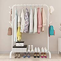 WLHome Metal Clothes Drying Rack Steel Tube Clothes Hanger Stand Portable Indoor Outdoor (White)
