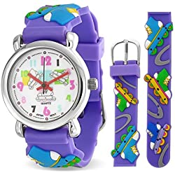 Bling Jewelry Purple Analog Roller Skating Sport Childrens Watch Stainless Steel Back