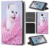 Samsung Galaxy J5 2016 J510/Duos Hülle von CoverHeld Premium Flipcover Schutzhülle Flip Case Motiv (1476 Katze mit Schal Pink Rosa Kätzchen)