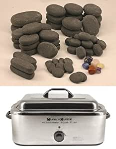HOT STONE MASSAGE KIT: 64 Basalt Stones + 18 Quart Hot Stone Heater