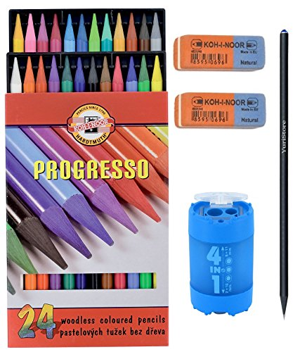 koh-i-noor-set-of-progresso-woodless-coloured-pencils-set-of-24-2-erasers-sharpener-4-in-1-yuristore
