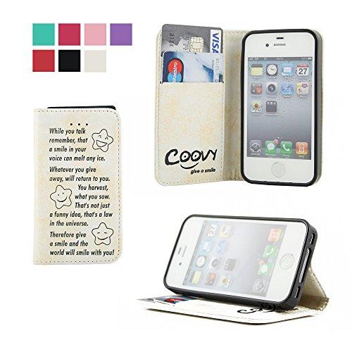 COOVY® Cover für Apple iPhone 4 / 4s Case Wallet Schutz Etui mit Kartenfach, Standfunktion + Schutzfolie - Design Smile | Farbe Weiss