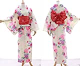 Kawaii-Story K-004 creme weiß beige Blumen ORIGINAL traditionell Japan Damen Kimono YUKATA OBI Gürtel Baumwolle