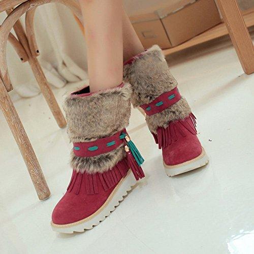 Mee Shoes Damen Quaste warm gefüttert runde Plateau kurzschaft Stiefel Rot