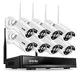 ZOSI 960P Auto-Pair WiFi sans Fil NVR 8CH Enregistreur Vidéo Surveillance WiFi 8 Caméras de Surveillance sans Fil 1.3MP 30m Vision IR APP Gratuite Accès à Distance en 3G/4G sans Disque Dur