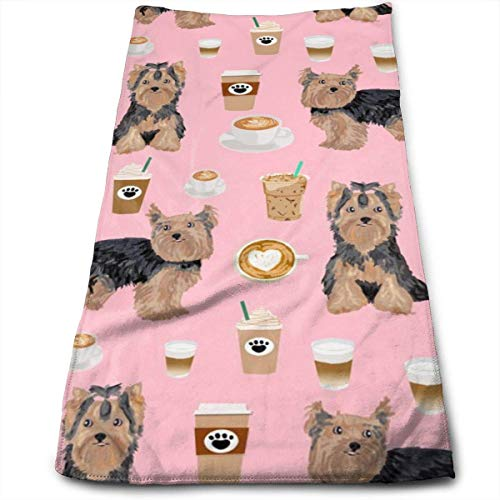 Wodann Yorkie Kaffee Yorkshire Terrier Kaffee Design süße Hunde Handtücher Geschirrtuch Floral Leinen Handtuch 11,8