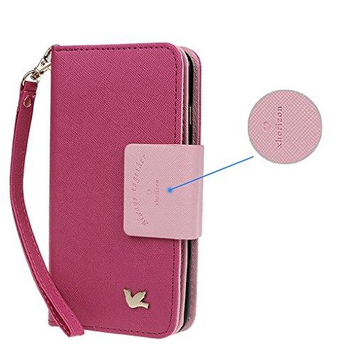 Hülle für Samsung S3, xhorizon FX Prämie Leder Folio Case [Brieftasche][Magnetisch abnehmbar] Uhrarmband Geldbeutel Flip Vogel Tasche Hülle für Samsung Galaxy S3 i9300 mit einer Auto Einfassungs Halte Rosa mit Schwarz Auto Einfassung Halter