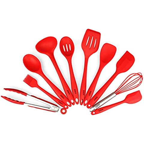 ZOER Premium Set di utensili da cucina in silicone (10pezzi) in Igienico rivestimento solido, resistente al calore, strumenti di cottura (Rosso Ciliegia) - Spatola Tong