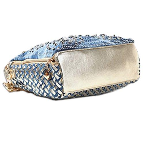 KAXIDY , Damen Henkeltasche Blau blau 28x 12 x 27cm, Blau - Blau - Denim Bleu + Or PU Cuir - Größe: 28x 12 x 27cm Blau - Denim Bleu + Or PU Cuir