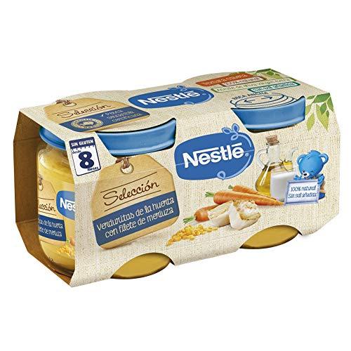 Nestlé Selección Tarrito de puré de verduras y carne, variedad Verduritas de la Huerta con filete de Merluza, para bebés a partir de 8 meses - Paquete de 2 x 2 Tarritos de 200 gr