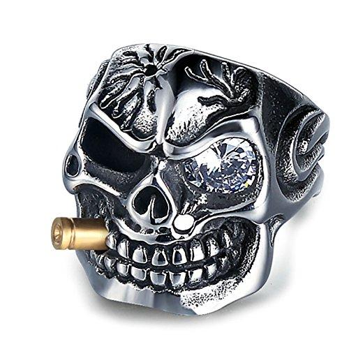 Adisaer Ringe Männer Herr Der Ringe Gothic Titan Ring Silber Für Herren Weiß Zirkonia Mit Zigaretten Schädel Totenkopf Freundschaftsringe Punk Ringe Männer Gr. 62 (19.7) (Ring Der Herr Ringe Titan)