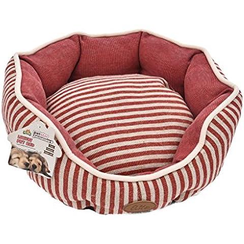 TOFERN Classico Strisce Lavabile Caldo Letto Gatto Cane Coccole Dormire Nido con Impermeabile Base, tondo, Rosso-L