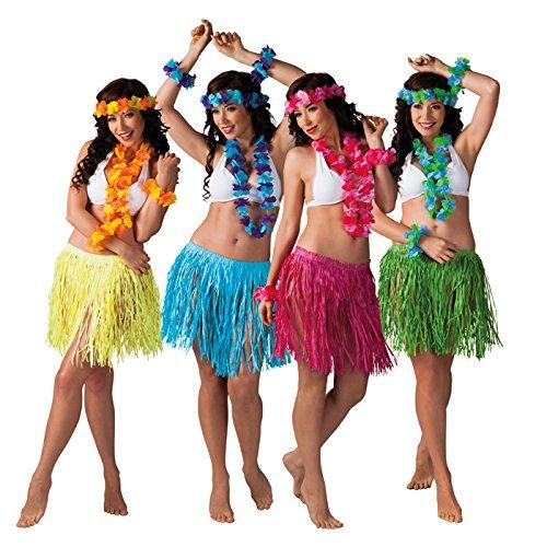 PARTY DISCOUNT NEU Hawaii-Set, 4er-Set Baströcke und Hulaketten