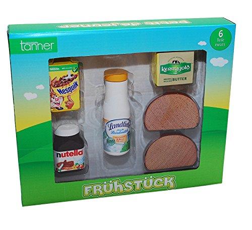 Christian Tanner 0945.3 - Frühstück Set aus Holz, Kaufläden und Zubehör, 6 teilig - Holz-frühstücks-set
