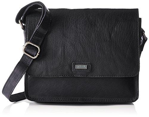 Spikes & Sparrow Damen Flap Bag Umhängetasche, Schwarz (Black), 13x20x26 cm (Bag Flap Schwarz-leder)