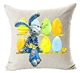 vintage cap Happy Easter Oil Painting Smile Bunny Color Egg and Butterflies Cotton Linen Square Decorative Throw Pillow Case Cushion Cover 18inchs (3)