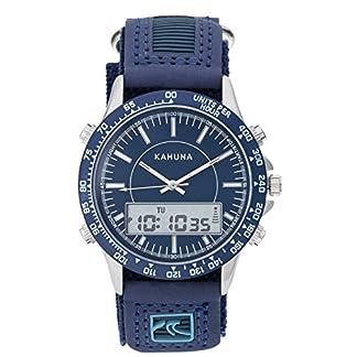 Kahuna – Reloj deportivo para hombre AKUV-003G con esfera azul, de nailon estriado y poliuretano con cierre de velcro, digital y analógico, sumergible a 50 metros