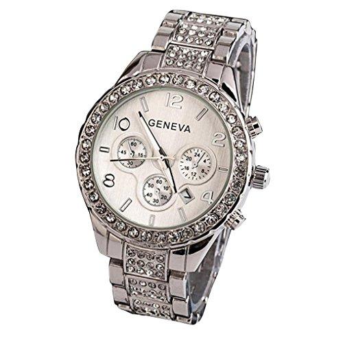 Geneva Orologio donna Elegante - feiXIANG Luxury Orologio In di cristallo di lusso,Donna Quarzo Analogico Orologio Bracciale Orologi Orologio al Quarzo Orologi da uomo (Argento)