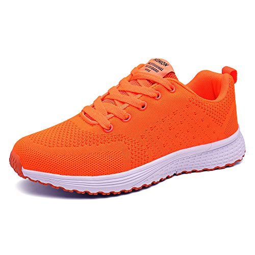 PAMRAY Damen Fitness Laufschuhe Sportschuhe Schnuren Running Sneaker Netz Gym Schuhe Hell Orange 42