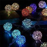 Ghirlanda luminosa Lanterna a LED palla in rattan manuale batteria a catena scatola luci stelle luci decorative fata luci colore 1 2 metri 10 luci
