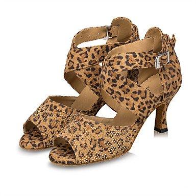 XIAMUO Anpassbare Damen Tanzschuhe Latein/Samba Wildleder Stiletto Heel Schwarz/Blau/Leopard Hellblau