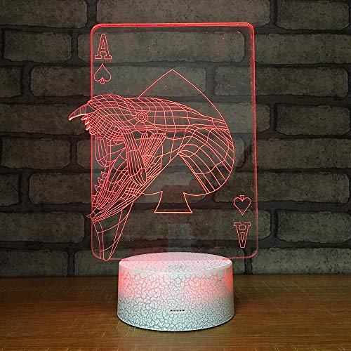 3D Optische Illusions-Lampen Karten Spielen 7 Farben Erstaunliche Optische Täuschung Die Schlafzimmer-Dekoration Für Kinder Weihnachten Halloween-Geburtstagsgeschenk Beleuchten