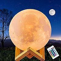 Lámpara Luna de Impresión 3D JORLAI 16 Colores Brillo Regulable Control Remoto y Toque de Mano Recargable USB Decoración LED Luz de Noche para Fiesta Sala de Estar y Regalo de Niños 15cm